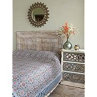 Mosaique Bleue ~モロッコタイル印刷ブルーベッドスプレッド キング ブルー