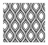 York Wallcoverings Tres Chic FP2688 Ogee Wallpaper, White/Black [並行輸入品]