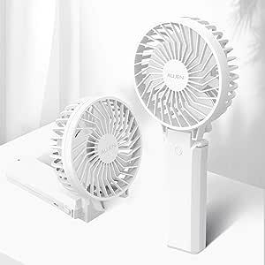 【2020年最新】Aujen 携帯扇風機 充電式 最大作動時間35h ハンディファン 手持ち扇風機 小型 卓上扇風機 5200mAh モバイルバッテリーあり パワーバンク 首かけ 携帯便利折り畳んで スタンド機能 ストラップ付き 分離式 ホワイト