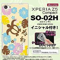 SO02H スマホケース Xperia Z5 Compact カバー エクスペリア Z5 コンパクト ソフトケース イニシャル 亀とハイビスカス 黄色 nk-so02h-tp1105ini J