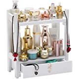 GOBAM Makeup Storage Rack Large Capacity Make up Caddy Shelf with Drawer Cosmetics Organizer Box, Great for Countertop, Bambo