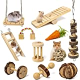 Sofier Hamster Chew Toys Set 11 Pack Natural Wooden Hamster Toys and Accessories for Cage Guinea Pig Chew Toys for Teeth Smal