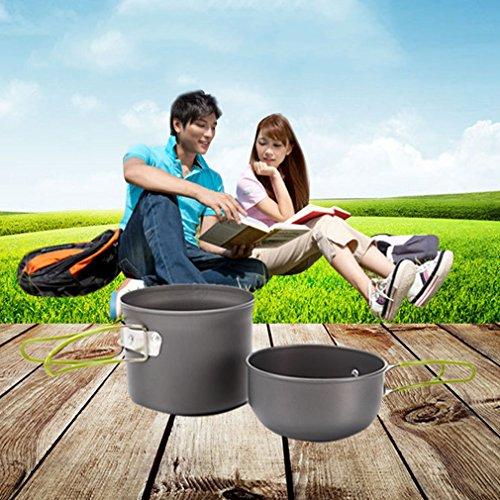 ICOCO クッカー セット アウトドア鍋 クッカー アルミ クッカー セット ポータブル キャンピング 鍋 食器 セット 調理器具 キッチンツール キャンプ用品  調理器具 (300)