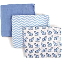 Luvable Friends 3 Piece Muslin Swaddle Blankets, Elephant, Boy by Luvable Friends