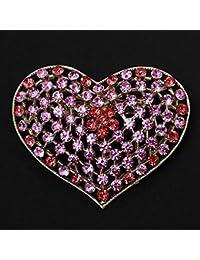 Hellery ブローチ クリスタル ラインストーン ハート ブローチピン ピンク ゴージャスな コスチューム ジュエリー