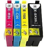 EPSON エプソン IC4CL86 (BK/C/M/Y) 大容量4色セット 残量表示可能ICチップ付 互換インクカートリッジ 最優良品質【ハニハニ製 1年サポート】