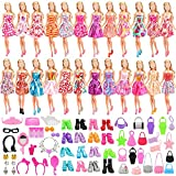 Barwa 75 Pcs Accessories Include 15 Pack Clothes Dresses Outfits, 10 PCS Shoes, 10 PCS Bags and 40 Pcs Different Doll Accesso