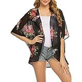 Newchoice Womens Floral Chiffon Kimono Cardigan Loose Sheer Summer Beach Coverup