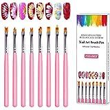 8 Pcs Nail Art Brush Pen UV Gel Acrylic Nail Brush False Nail Art Tips Builder Gradient Painting Gel Nail Polish Brush Set To