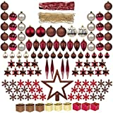 122pcs Christmas Tree Decorations Ornaments Burgundy Brown Champagne Set Incl.Tree Topper Christmas Baubles Beaded Garland Tinsel Pinecones Gift Box Stars Hanging Tree Ornament Colorful Pendant Assorted Package for Xmas Decor