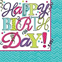 Sweet Birthday Party 2-Ply Beverage Napkins Tableware Paper 5 x 5 Pack of 16 [並行輸入品]