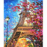 DIY 5D Diamond Painting by Number Kits, Full Drill Crystal Rhinestone Embroidery Pictures Arts Craft for Home Wall Decor Gift - Tower in Autumn 12x16inch