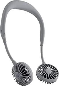 SPICE OF LIFE(スパイス) ハンズフリー ポータブル 扇風機 WFan(ダブルファン) グレー 携帯 首掛け USB充電式 風量3段階調節 角度調整 5枚羽根 安全性試験済 DF30SS01-GY