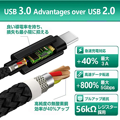 USB Type-Cケーブル USB-C & USB 3.0ケーブル 2m 急速充電 高速データ転送56Kレジスタ実装 ナイロン編み 高耐久 Nintendo Switch充電ケーブル 新しいMacBook Pro/MacBook/Nexus 5X/ChromeBook Pixel その他USB-C機器対応