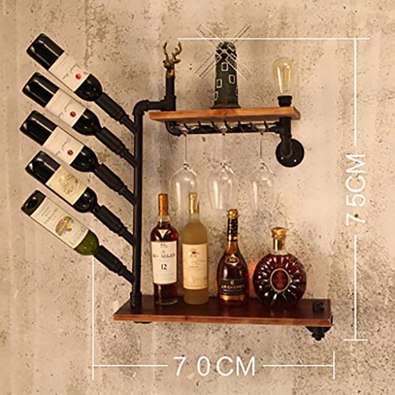 ワインラック、ロフト錬鉄製のパイプ無垢材の壁掛けワインラックバーワインラック、ディスプレイスタンド