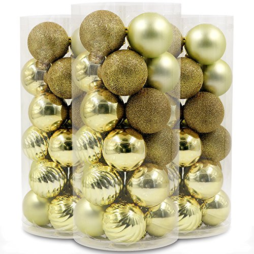 Valery Madelyn 定番 クリスマス オーナメント ボール 24個入り デコレーション ゴールド ゴージャス クリスマス ツリー 飾り 雑貨 装飾 6cm