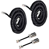 Telephone Handset Cord Detanglers,Uvital 2 Pack Landline Handset Cord Cable 10Ft Uncoiled(1.2 Ft Coiled) and 2 Pack Anti-Tang