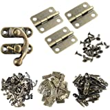 Wobe Small Box Hinges, Antique Right Latch Hook Hasp Wood Jewelry Box Hasp Catch Decoration with Replacement Screws - Bronze