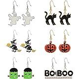 NVENF Halloween Earrings Spider Bat Pumpkin Ghost Drop Dangle Earrings Halloween Theme Party Dress Up Stud Earring Set for Wo