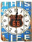 BIG Bite アンティーク 風 ウォールクロック 木目調 壁 掛け時計 南欧 スタイル (H / HARLEY 66)