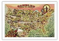 我が国を散策 - 1890年代の米国地図 - ビンテージ イラスト マップ c.1890 - キャンバスアート - 69cm x 102cm キャンバスアート(ロール)