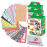 Fujifilm Instax Mini 9 FILM 3 Packs Bundle Set For Fuji Instant Camera + FREE 20 Border Stickers + Cleaning cloth (3 pack)