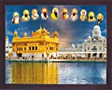 HandicraftstoreすべてSikh Ten Guru ; S with Amritsar Temple A Cityシーク教徒のアムリトサル、Aシークの宗教画ポスターフレーム付きSikhファミリのホーム/オフィス/ギフト用途/Sikh Religious/Gurudwaraギフト