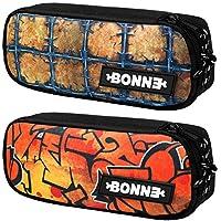 Bonne ('Bone') Graphic Pencil Case - Set of 2 Pencil Cases - Sport Case, Carry Pouch, Makeup Case, Pencil Case for School Backpack - Popular Designs - Bubbler & Barbwire