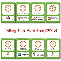 (Telling Time Activities) - Richardy 20Pcs/Set Telling Time Activities Kids English Flash Cards Pocket Card Educational Learning Toys For Children
