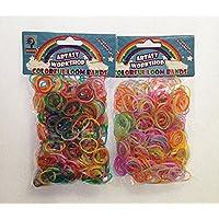 [Artasy ™][並行輸入品] DIY ラメ & 蛍光ゴムバンドブレスレット (銀ラメミックス × 蛍光ミックス) Loom Bands Glitter twins refill Pack - (600 + 600 pcs) rubber ring Color: MIX
