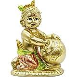 Hindu Baby Krishna Statue - Indian God Krishna Figurines Home Mandir Temple - India Idol Pooja Murti Buddha Religious Lord Fi