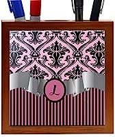 Rikki Knight RK-PH2142 Letter L Initial Light Pink Damask and Stripes Monogrammed Design 5-Inch Wooden Tile Pen Holder (RK-PH2142) [並行輸入品]