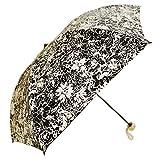 花柄UVカット折りたたみ日傘 軽量レディース晴雨兼用タイプ (ブラック)