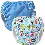 Teamoy 水遊びパンツ 2点セット 0-3歳 赤ちゃん用 ボタンでサイズ調整可能 防水外層 ポリエステルメッシュ内層 オムツカバー スイミング教室・公園・海水浴・温泉旅行(ブルー+フクロウブルー)