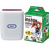 FUJIFILM チェキ スマホプリンター instax mini Link アッシュホワイト(Red&Blue)+フィルム20枚セット