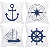 BLEUM CADE Nautical Sailing Throw Pillow Cover Blue Anchor Navigation Compass Sailboat Pillowcase Set of 4 Decorative Cushion