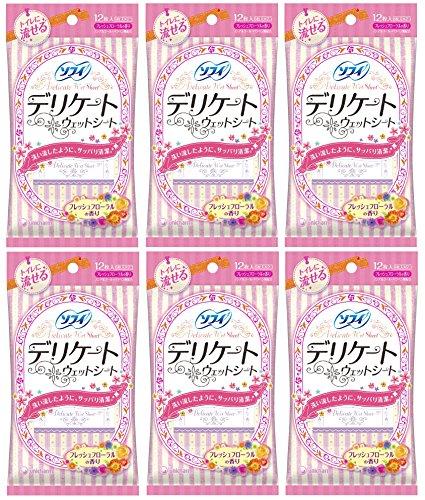 【まとめ買い】ソフィ デリケートウェット フレッシュフローラルの香り 12枚入り(6枚×2P)×6個セット(unicharm Sofy)
