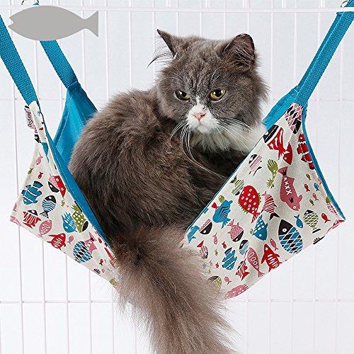 Ninkipet(ニンキペット)キャットハンモック チェア ニャンモック 猫用ハンモック ペット用品 猫 取り付け簡単 春夏秋冬でも使える (ブルー)