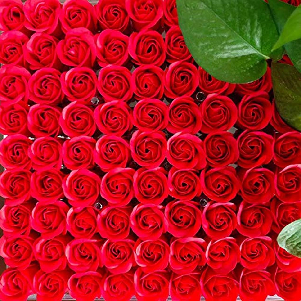 81PCS DIY ボディソープ バラ ローズ 洗濯用 フラワーソープ 良い香り 三層 贈り物 結婚披露宴 バレンタインデーギフト 石鹸の花+ボックス