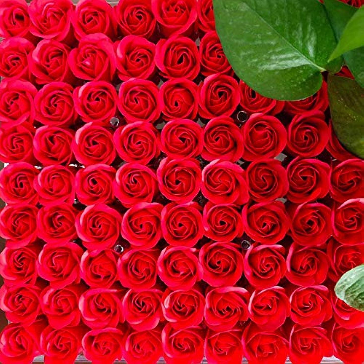 興味方言耐えられる81PCS DIY ボディソープ バラ ローズ 洗濯用 フラワーソープ 良い香り 三層 贈り物 結婚披露宴 バレンタインデーギフト 石鹸の花+ボックス