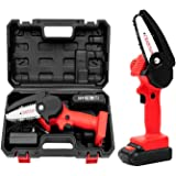 Mini Chainsaw, 4-Inch Cordless Electric Protable Chainsaw with 1Pcs Batteries & Chain Brushless Motor, One-Hand 0.7kg Lightwe