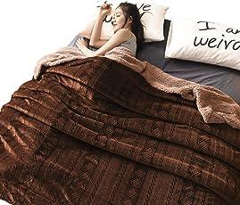 Skazi リバーシブル毛布 表面フランネル100% 裏面シープボア100% へたりにくい ふわふわ 軽くて暖かい 抗菌防臭 柔らかい優しいブランケット ブラウン(ダブル:200×230cm)