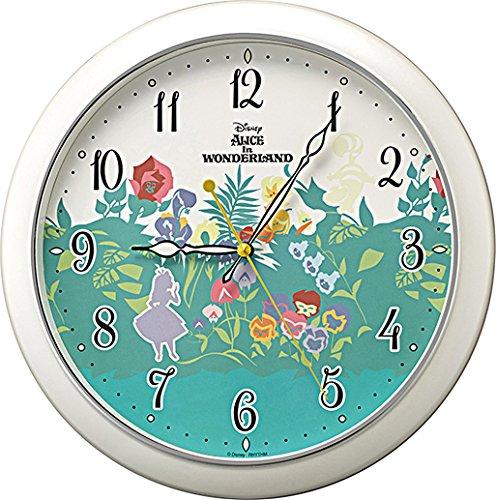 Disney (ディズニー) 掛け時計 キャラクター アナログ ふしぎの国の アリス ALICE in WONDERLAND M804 ファンタジー 蓄光 連続秒針 白 パール リズム時計 8MG804MC05