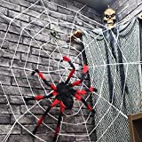 3.7 M (12 Ft) Giant White Spider Web + Three Plush Spiders Halloween Scene Layout Props Party Spider Web Pendant Decoration