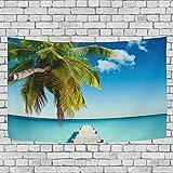 GORIRA(ゴリラ) タペストリー インテリア 壁掛け 和風 おしゃれ 絵画 美しい海辺 木の橋 青空 ブルーパーティー 部屋 窓 トップ飾り 個性 家庭飾り 多機能 装飾用品 約幅152x130cm