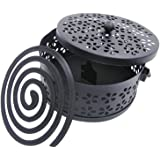 Whthteey Retro Portable Iron Mosquito Coil Holder with Handle Round Fireproof Incense Holder Black