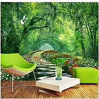 山笑の美 カスタム壁紙ツリーパークグリーンロード3D風景の背景の壁の壁紙家の装飾-120X100CM