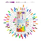 Dual Tip Brush Marker Pens-60 Colors Dual Brush Pens Set Art Brush Markers with Fine Tip and Highlighter for Adult Coloring B