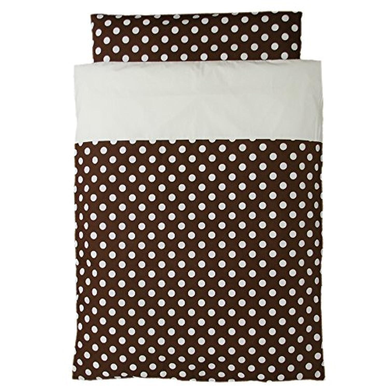 洗えるお昼寝布団 5点セット 日本製 ポルカドット 園児用敷布団 ブラウンバッグ (ブラウン)