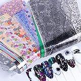 50個星空スカイスターズネイルアートステッカーのヒントラップ箔転写接着剤グリッターアクリルDIYの装飾(ランダムカラーパターン)